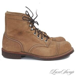 #1 MENSWEAR Red Wing Made in USA 8113 Heritage 6 Iron Ranger Tan Suede Boots 8.5