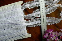 Gathered WHITE Lace - 3mm LAVENDER Satin Centre Thread - 5 Metres 43mm Wide FRL