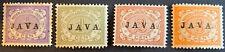 Nederlands Indië NVPH 63,64,65 en 67. Overdruk in Zwart JAVA 1908. Ongebruikt