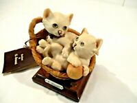 Giuseppe Armani Kittens in Basket Fine Porcelain Bisque Figurine #673C w tags