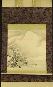 JAPANESE HANGING SCROLL ART Painting Sansui Landscape Asian antique  #E4615