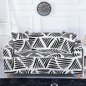 Black & White Striped Triangle Pattern Sofa Couch Cover Slipcover