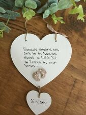 Angel baby heart plaque personalised sign Memorial Baby Loss bereavement