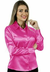 Women Satin Work Casual Office Shirt Button Down Solid Collar Blouse - Orchid