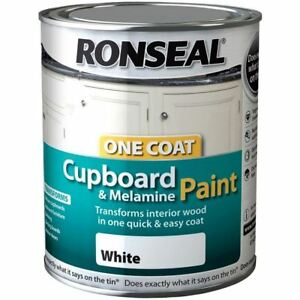 Ronseal One Coat Cupboard Melamine & MDF Paint White High Gloss 750ml