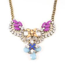 Bronze Crystal Wings Gem Crystal Blue Purple Fashion Jewellery Necklace