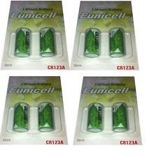 ENVOI AVEC SUIVI EUNICELL Lot  de 8 Piles CR123  CR123A 3V LITHIUM