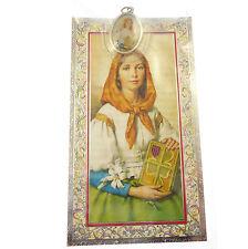 Catholic silver colour metal 2.5cm St. Dymphna medal pendant and prayer
