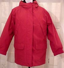 EDDIE BAUER Red Goose Down Parka Coat Zip Out Lining Winter Jacket S 6 Hood