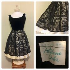 459c9585a53 VTG 1950 s Parklane Debs Black Velvet   Ornate Lace Cocktail Dress!