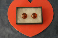 Stunning  Silver Earrings W. Amber 7.1 Gr. 2 Cm.Wide Quality Clip-On In Box