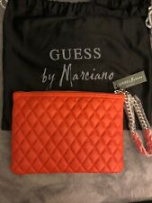 NWT Marciano By Guess Lambskin Quilted Leather Clutch Purse Wristlet Orange