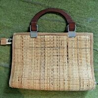 Vintage 1970s Italian Woven Wicker Straw Briefcase Handbag Wooden Handles Tan