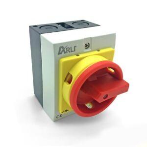 Hauptschalter 16A 4 polig IP65 Kunststoff Gehäuse Trennschalter 16 4P16A-G ARLI