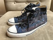 CONVERSE BURGUNDY BLUE BLEACHED STAIN STUDDED SPIKES HIGH TOP SNEAKERS SHOES 9.5