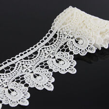 2 Yards Off White Floral Polyester Lace Applique Sewing Trim DIY Crafts Trimming