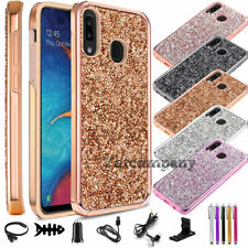 For Samsung Galaxy A10E A20 A30 Phone Case Glitter Bling Cover With Accessories