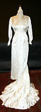 EXCEPTIONAL WEDDING GOWN. COUTURIER HANDMADE. SATIN SILK. FRANCE. CIRCA 1945