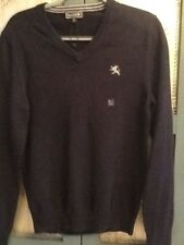 Express Mens Sz Small Navy Blue Long Sleeve V-Neck 100% Cotton Sweater New