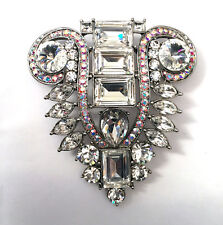 Butler and Wilson Clear & AB Crystal Rhodium Plated Art Deco Style Brooch NEW