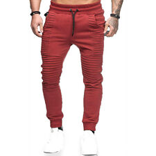 Men's Jogger Pants Twill Biker Moto Casual Slim Elastic Joggers Harem Trousers