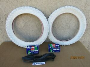 NEW  16 x 2.125 WHITE BICYCLE TIRES , TUBES & LINERS FOR KID BIKES, STROLLER