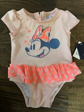 Nwt Baby Gap girl pink minnie mouse one-piece rashguard bathing suit 6 9 12 18