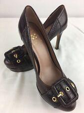 Vince Camuto Platform Pumps Eldred Brown Leather Gold Buckle Stilettos Sz 6/36 B