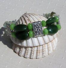 "Nephrite Jade, Peridot & Green Prehnite Crystal Gemstone Bracelet ""Serene Glory"""