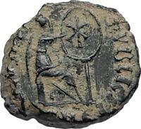 AELIA FLACILLA Theodosius I Wife 383AD Ancient Roman Coin VICTORY CHI-RHO i67117