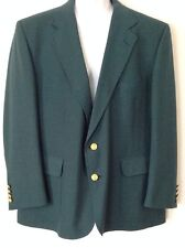 Mens Hardwick Clothes Gold Two Button Blazer Jacket Green Wool Mix Chest 45""