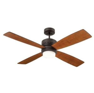 """50"""" LED Oil Rubbed Bronze Ceiling Fan W/ 4 Natural Cherry/Dark Mahogany Blades"""