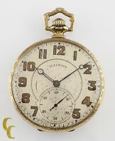 Yellow Gold Filled Illinois Antique Open Face Pocket Watch Gr 405 12S 17 Jewel