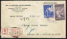 425 Venezuela To Chile Registered Cover 1940 Caracas - Santiago