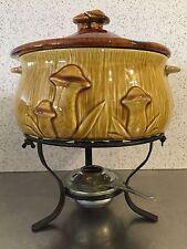 Vintage Ceramic Mushroom Chafing Dish Fondue Burner Wrought Iron Mid Century Mod