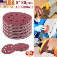 80PCS 5in 40-400 Grit Sanding Discs Orbital Sander paper Sheet Hook Loop Pad OZ