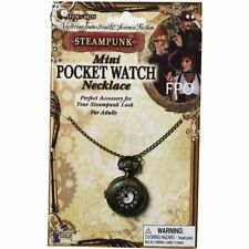 Steampunk Mini Pocket Watch Necklace Fancy Dress Up Halloween Costume Accessory