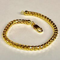 "14KT Solid Yellow Gold D/C Franco Curb Box Link 8.5"" 4.5mm 30grms Chain Bracelet"