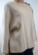 CHLOE Beige Wool & Cashmere Silver Tone Buckle Detail Jumper Sweater Top EU36
