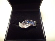 And White Stones -Size-8-Beautiful #401 Fancy Sterling Silver Ring-925-Blue
