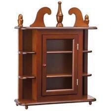 "Antique Hardwood Wall Curio 25.5"" Wall Display Cabinet"