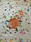 Vtg White Silk Embroidered Piano Shawl Scarf Flamenco Wedding Roses Fringed