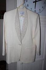 NOLAN MILLER Winter White Beaded Dressy EVENING JACKET Size 6 100% Wool NWOT