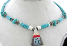 TURQUOISE BEAD NECKLACE WITH TRIANGLE CHARM W/ BIRD