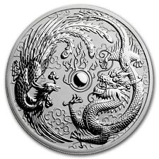 2017 ~ PERTH MINT ~1~OZ  SILVER ~ DRAGON and PHOENIX ~ REVERSE PROOF GEM ~ $9.99