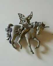 JJ Jonette Silver Tone Pewter Fairy Unicorn Brooch Pin Sparkly Tail and Mane
