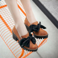 Women's Block Med Heels Platform Knot Round Toe Slip On Loafers Solid Shoes Size