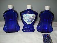 3 Vintage Cobalt Blue Perfume Cologne Bottles - Gardenia & Envy - Depression Era