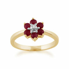 Cluster Natural Ruby Yellow Gold Fine Rings