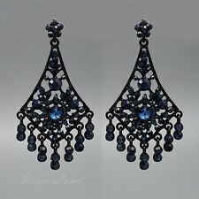 Dark Blue Crystal Rhinestone Drop Dangle Chandelier Earrings 00134 Black Alloy